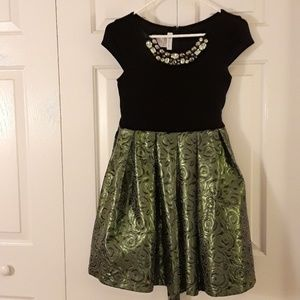 Bonnie Jean green shimmer holiday dress